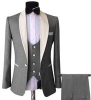 Wholesale purple tuxedo for men wedding for sale - Group buy Mens Pieces Suits Slim Fit Business Groom Pink purple Jacket Tuxedos White Blazer for Wedding Prom Evening Blazer Vest Pants