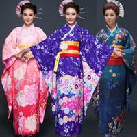ingrosso accappatoio da donna giapponese-Best Seller giapponese Kimono Donne Yukata Kimono tradizionali femminili accappatoio giapponese antica vestiti del costume di moda