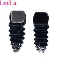 bakire mongol kıvırcık saç toptan satış-4X4 Dantel Kapatma Brezilyalı Virgin İnsan Saç Perulu Malezya Hint Moğol Vücut Dalga Düz Gevşek Derin dalga Sapıkça kıvırcık Kapakları
