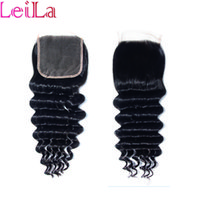 Wholesale 4X4 Lace Closure Brazilian Virgin Human Hair Peruvian Malaysian Indian Mongolian Body Wave Straight Loose Deep wave Kinky curly Closures