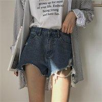 koreanische kühle kleidung großhandel-Mihoshop Ulzzang Korean Korea Damenmode Kleidung Coole Punk Harajuku Loch Denim Jeans Shorts