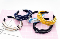 Wholesale bow art resale online - Korean BYRL new style cloth art wide edge wash face fashion lovely bow tie Women Adult cross knot hair hoop