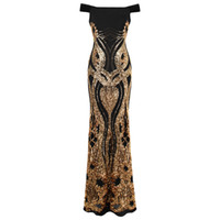 Angel-fashions Women's Off Shoulder Gold Floral Pattern Sequins Column Sheath Evening Dress Prom Gown Party Black Gold 407