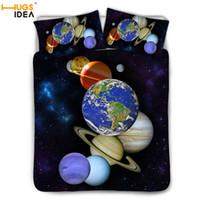 cama de espacio reina al por mayor-HUGSIDEA Juego de cama Space Galaxy Funda nórdica Juego de cama Universe 3pcs Galaxy Print Ropa de cama para niños Adultos Single King Twin
