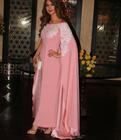 Wholesale modern elegant dresses white online - Custom Made Formal Evening Dresses With Wrap Floor Length Elegant Pink Satin With Ivory Appliqued Formal Long Prom Party Gown Custom Made