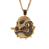 Wholesale pug pendants resale online - Hip Hop Pug Pendant Necklace K Gold Jewlery Iced Out Bling Cubic Zirconia Dog Head Charm Mens Hiphop Necklaces