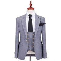 winter brautkleid wolle großhandel-Handsome Groomsmen Wollmischung Bräutigam Smoking Mens Hochzeitskleid Mann Jacke Blazer Prom Dinner 3-tlg. Anzug (Jacke + Hose + Krawatte + Weste) AA117