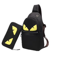 bolsas de embalaje de dibujos animados al por mayor-Diseñador de dibujos animados Crossbody Bolsa Negro Pequeño Monstruo Hombres Paquete de pecho Oxford Cinturón Bolso Bolsas de mensajero de la moda Monederos de la cartera C7209