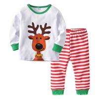 Wholesale pp underwear resale online - New style christmas baby pajamas sets Cartoon Kids Pajamas Boy Pajamas Girls Sleepwear baby underwear long sleeve Tops PP pants A8589