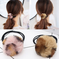 Wholesale fake fur accessories for sale - Group buy Bun Korean Soft Party Cute Fake Fur Pearl Valentines Gift Hair Rope Leopard PC Hair Accessories Elastic Adjustable