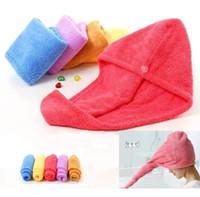 bacs en plastique livraison gratuite achat en gros de-Bonnets de douche pour serviette en microfibre pour cheveux à séchage rapide, séchage Turban Wrap chapeau casquettes Spa baignade Caps D0446
