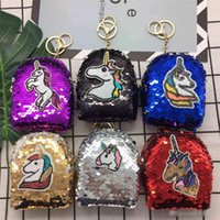 saco bonito da moeda da menina venda por atacado-Meninas Mermaid Unicorn Glittering Lantejoula Coin Purse com bola bonito Plush Bolsa de Dinheiro Mulheres Mini Carteira Package Saco da moeda Zipper fone de ouvido