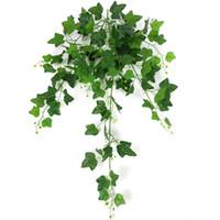 ingrosso piantare giardino di casa-110cm 8 Forks Simulation Creeper Green Plants For Weeding Home Garden Window Scale Decorazione Vines Artificiale Ratten Plant