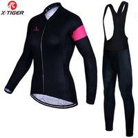 women s thermal sets 도매-X-타이거 여성 클래식 슈퍼 따뜻한 사이클링 저지 설정 MTB 자전거 스포츠 겨울 열 양털 자전거 의류 자전거 의류