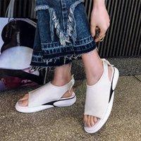 siyah platform oxfords toptan satış-Siyah Beyaz Ayakkabı Kadın Nefes Örgü Takozlar Roma Gladyatör Sandalet Med Topuklu Yaz Parti Platformu Oxfords Ayakkabı