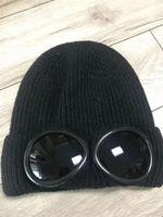 rugby blau großhandel-Zwei Gläser Brille Beanies Herbst-Winter-warme Hüte gestrickt dicke Schädel Kappen CP Hut hohe Qualität schwarz grau blau