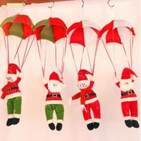fallschirmspringen weihnachtsmannschaft großhandel-Umweltfreundlich Weihnachtsschmuck Hanging Parachute Weihnachtsmann Schneemann-Verzierungen für Weihnachten Innendekorationen Weihnachtsgeschenk
