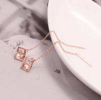 cas de gland achat en gros de-Mode en acier inoxydable chirurgical 316L cristal enrobé boucles d'oreilles pendantes Cubing Blinging Drop Earring Tassel Earring Stud Titanium Steel Jewelry