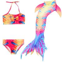 sereia trajes criança venda por atacado-3 PCS Meninas Swimmable Swimmable Sereia Cauda Cosplay Swimsuit Bikini Terno Crianças Roupas de Natação Crianças Mermaid Caudas Traje maiô