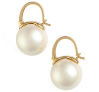 Wholesale brand heart stud earring resale online - Brand K S Hot sterling silver and gold pearl jewelry romantic charm pearl ball earrings