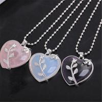 Wholesale purple quartz necklace resale online - Elegant Dark Purple Pink Rose Opal Quartz Heart Flower Pendant Necklace With Free Inches Chains For Women Valentine S Day Gifts ayq
