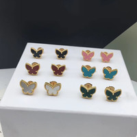 Wholesale white gold bangle butterfly resale online - Brand Jewelry set For Women clover Earrings Colorful Butterfly Design Wedding Earrings Necklace Bangle