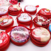 navidad chocolates santa al por mayor-7.5x7.5cm Navidad Metal Candy Chocolate Box Santa Claus Colgante Auricular Bolsa Fiesta DIY Decoraciones para niños