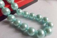 colar de pérolas azul claro venda por atacado-Colar Frete Grátis ++++ venda Quente Bonito! 12mm Light Blue Sea Shell Pérola Rodada Beads Colar 18