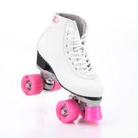 zwei räder skaten großhandel-Roller Skates Double Line Skates Weiß Damen Lady Model Adult Mit Pink Racing 4 Wheels Zweilinien-Rollschuh Patines