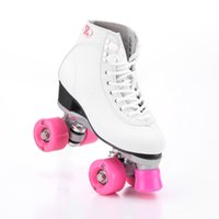 Wholesale two wheels roller resale online - Roller Skates Double Line Skates White Women Lady Model Adult With Pink Racing Wheels Two line Roller Skating Shoes Patines
