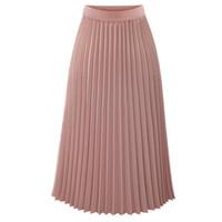 damen röcke verkauf großhandel-2019 sommer neue heiße verkauf weibliche modelle Casual Plissee Mid-Calf Womens Solid Plissee Elegante Midi Elastische Taille Maxi Rock