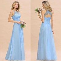buz mavi düğün nedime elbiseleri toptan satış-Açık Geri Kanat Dantel Aplike Basit Düğün Misafir Damatlık ile 2020 Modest Gök Mavisi Halter A Hattı Nedime Elbise