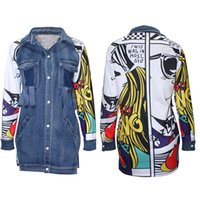 jaqueta feminina mais tamanho denim venda por atacado-Novas Mulheres Jaqueta Jeans Moda Graffiti Casaco de Manga Longa Jean Casaco de Inverno Mulheres Outwear Impressão Plus Size Tamanho Grande