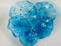 Wholesale led wall art home decor resale online - Home Decor Hand Blown Hanging Art Creative Glass Wall Plates Bright Color Glass Flower Wall Art Murano Glass Flower LED Wall Sconce