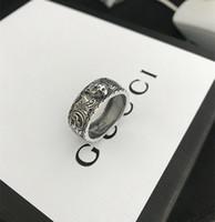 plata de ley única al por mayor-Vintage 925 plata esterlina gg anillos 3D negro cabeza de tigre anillo animal único para hombre mujer biker punk joyería amante de la marca regalo de lujo