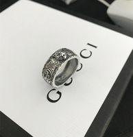 tigerringe großhandel-Vintage 925 sterling silber gg ringe 3d schwarz tigerkopf einzigartige tier ring für mann frauen biker punk schmuck marke liebhaber geschenk luxus