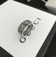 Wholesale biker ring jewelry for sale - Group buy Vintage Sterling Silver gg Rings D black Tiger Head Unique Animal Ring For Man Women Biker Punk Jewelry brand lover Gift Luxury