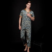 Wholesale onesies pajamas pyjamas resale online - Mens Fake Silk Men Pajamas Sleepwear Summer Short Sleeve Silk Satin Nightwear Man Plus Size XXXL Paisley Pyjamas set Male