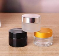 Wholesale cream container s for sale - Group buy 5g g Frosted Clear Amber Glass Jar Skin Care Cream Bottles Container with Black Silver Gold Lid and Inner Pad