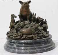 Wholesale chinese bronze sculptures resale online - Chinese Bronze Marble Wealth Money YuanBao Twelve Zodiac Animal Sculpture Statue