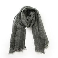 ropa de voile al por mayor-Color sólido 100% lino bufandas arrugadas ahueca hacia fuera delgado voile bufanda señora primavera invierno cálido bufanda chal lujo de alta calidad