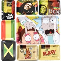 Wholesale raw for sale - Group buy Cheap Metal Rolling Tray Bob Marley RAW mm Tobacco Cartoon Roll Trays Hand Roller Smoking Accessories Cigarette tools