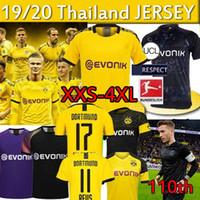 erkekler forma giyenler toptan satış-Tayland BVB Borussia Dortmund futbol forması 17 HAALAND SANCHO REUS TEHLİKESİ 19 20 110. Yıldönümü Jersey futbol formaları MEN çocuklar gömlek
