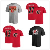 johnny camisetas venda por atacado-Chamas de Calgary dos homens camisetas 13 # Johnny Gaudreau Vermelho 17 # Hamilton 2019 Camisas de Esportes de Manga Curta Designer de Hóquei Camisas impresso Logos