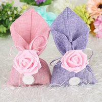 Wholesale cute wedding candy boxes favor resale online - 20pcs Cute Purple Wedding Candy Bag With Pink Color PE Rose Flower And Sweet Love Card DIY Beautiful Party Favor Gift Box