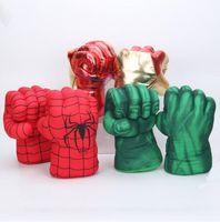 plüschtiere kostüme großhandel-Kinder Spinne Hulk Boxhandschuhe Hulk Smash Hände Spider Man Plüsch Handschuhe Performing Requisiten Spielzeug Riesen Faust Kostüme Abbildung GGA1838