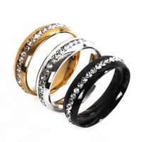 schwarze diamantbar großhandel-2019 Beliebte Single Row Bring Diamond Ehering schwarz Golden Diamond Jewelry Ring Ringe für Frauen