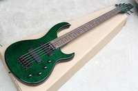 bajo cuerda verde al por mayor-Factory Custom Green 5-cuerdas bajo eléctrico eléctrico con hardware negro, Chouds chapa de arce, se puede personalizar