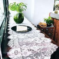 ingrosso corridori floreali da tavolo da cerimonia nuziale-36X300CM Wedding Table Runner Bianco Ciglio Tovaglia di Pizzo Floreale Tovaglia Boho Decorazione di Nozze Tessili per la casa