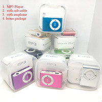 Wholesale music box sd card slot resale online - Mini Clip MP3 Player with usb cable earphone Plastic box Packaging without Screen Support with SD card Slot Music Players FreeDHL